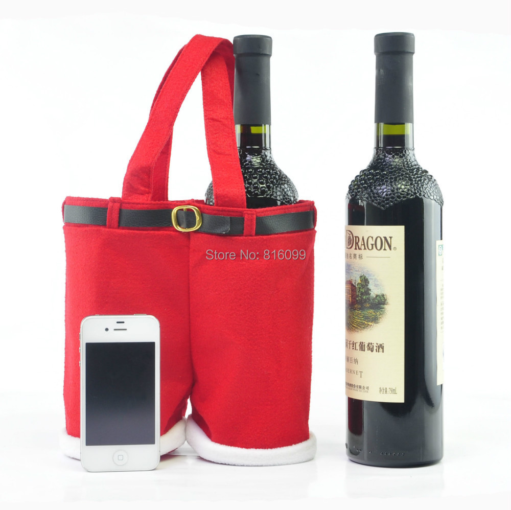 Free shipping!!!Best Selling 3pcs/lot New Christmas wine bottle gift bag wedding holiday new year candy bag high quality(China (Mainland))