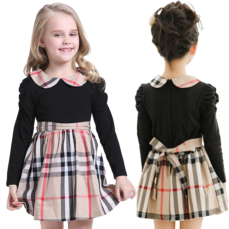 Hot selling kids clothes spliced design girls dresses name brand kids dress 2015 summer children clothing plaid child vestidos(China (Mainland))