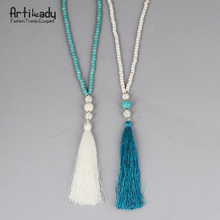 Artilady beads turquoise necklace vintage indian jewelry long chain tassel necklace for women wedding jewelry(China (Mainland))