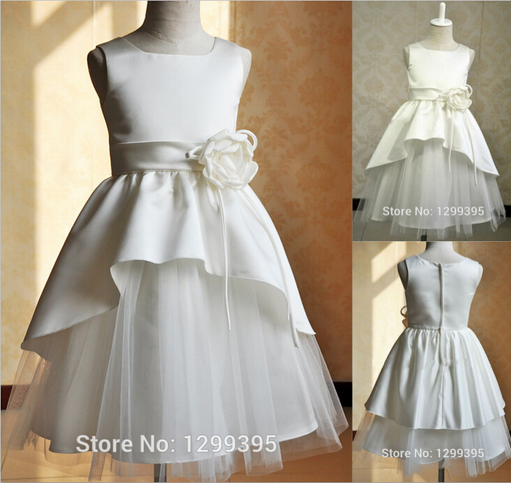 Vestido de Daminha 2015 Cute White Ivory Flower Girl Dresses for Weddings Kids Evening Gowns Little Girl Prom Pageant Dresses(China (Mainland))