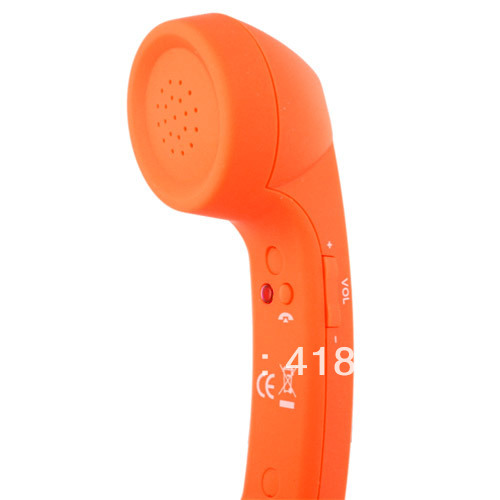 3.5mm Cool Retro Phone Speaker Telephone Handset for iPhone 4 Samsung Blackberry, Orange(China (Mainland))