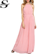 Sheinside Online Shop Clothing 2016 Dresses For Ladies Sleeveless Halter Pleated Maxi Chiffon Party Dress(China (Mainland))