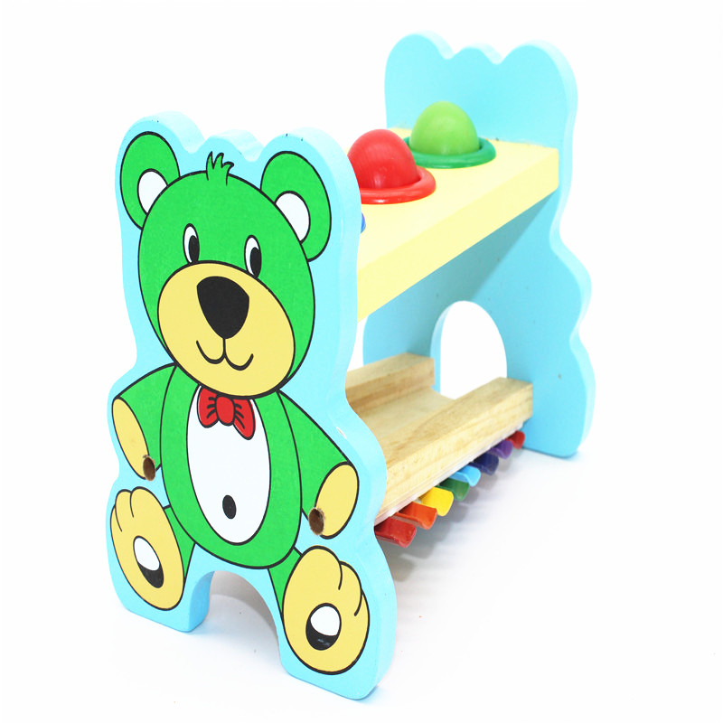 Kid's Soft Montessori Wooden Xylophone Musical Instrument Toy Set with three wooden balls hitting for infant playing gift(China (Mainland))