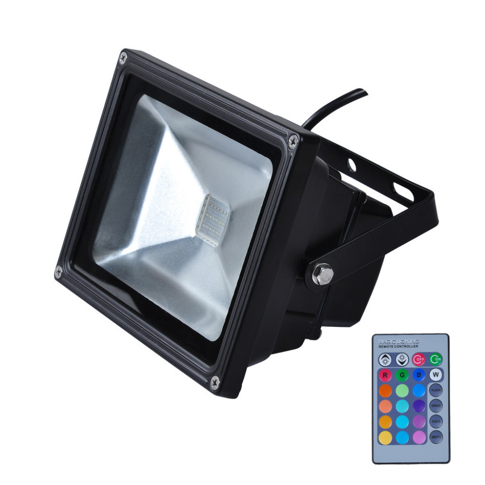 Hot sale ip65 waterproof 10w rgb led flood light outdoor lighting spotlights with remote control for Remote control exterior lights