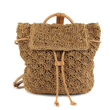 Women Straw Backpack Leisure Straw Bag Manual Made Grass Tote Beautiful Beach Bag Travel Woven Weave School Bag Backpacks(China (Mainland))
