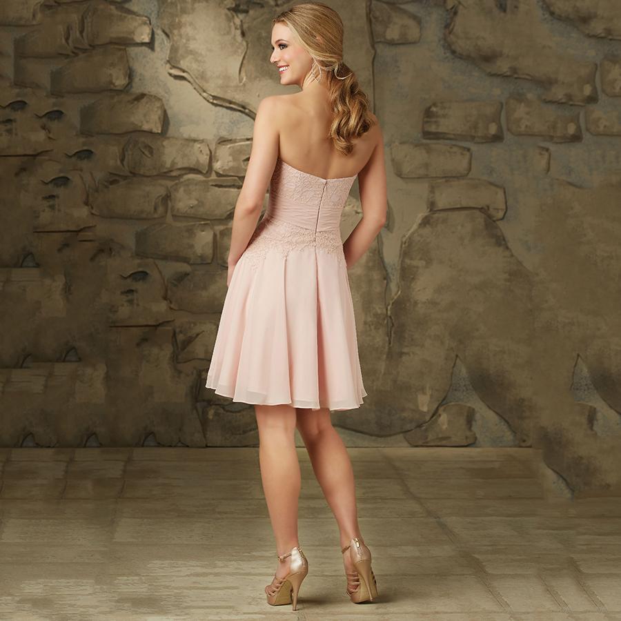 Robe De Demoiselle D honneur Adulte Cheap Strapless Chiffon Blush Pink Briesmaid Dresses Short Lace Wedding