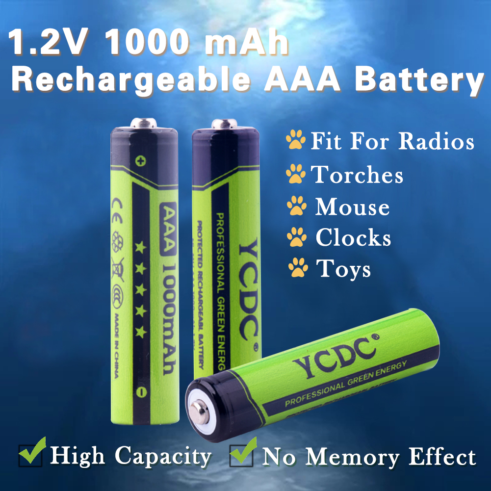 4-20pcs YCDC 1.2V AAA Ni-Mh 1000mAh Rechargeable Batteries High Capacity Pre-charged Batteries Set for LED Flashlights Headlamps(China (Mainland))