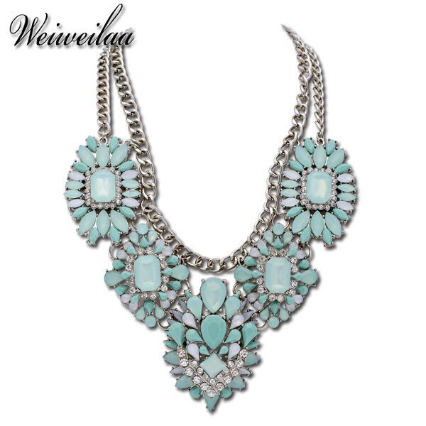 Hot Sell Women's Necklaces Fashion Jewelry Gold Plated Emerald Green Acrylic Design Women Crystal Necklaces(China (Mainland))