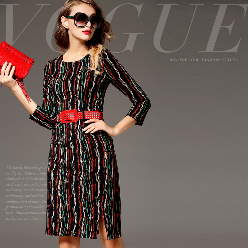 Inplus Lady latest ladies office wear designs vestidos de renda para adolescente straight hip pack up fashion dress MI15102723(China (Mainland))