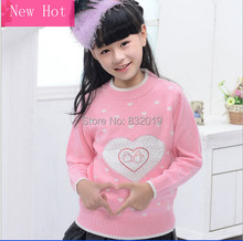 New Brand 2016 Girl Autumn & Winter Cotton & Wool Thick Wear Sweater Childrens Sweaters Knit Knitwear Coats Turtleneck for Girls(China (Mainland))