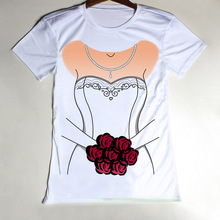 Cheap New T Shirt Women Wedding Dress Bride Flowers Woman Tshirt Funny O Neck Tops Tees Short Sleeve Girls Clothing(China (Mainland))