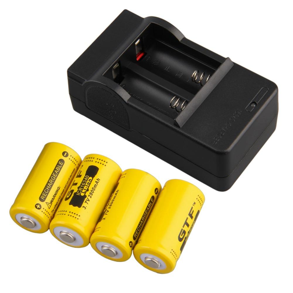 4pcs 16340 3.7V 2800mAh Rechargeable Li-ion Battery + US Plug Charger Color Yellow New(China (Mainland))