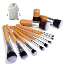 11pcs/set Professional Makeup Brushes Set Wood Superior Soft Cosmetic Eyeshadow Foundation Concealer Make up Brush Set with Bag(China (Mainland))