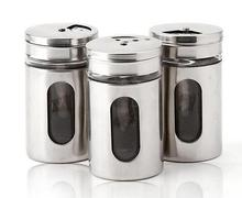 Hot Style 4 Different Needs Rotating Holes Spice Jars Condiment Pot Salt Pepper Kitchen Storage Stainless Steel Glass Container(China (Mainland))