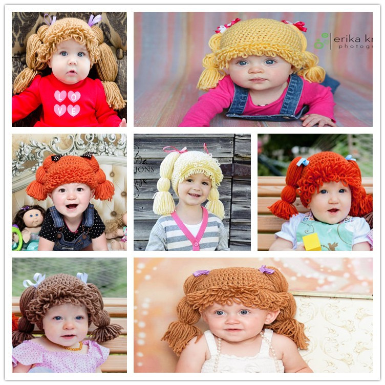 2015 Newborn Baby Photo Props Cabbage Patch Doll Hat Cute Baby Beanie For Girl Baby Hat Caps Baby Girl Wig Hat(China (Mainland))