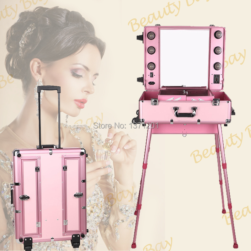 Vanity Case With Lights And Mirror : Aliexpress.com : Buy Free shipping to Egypt, Pink Aluminum makeup station trolley train case ...