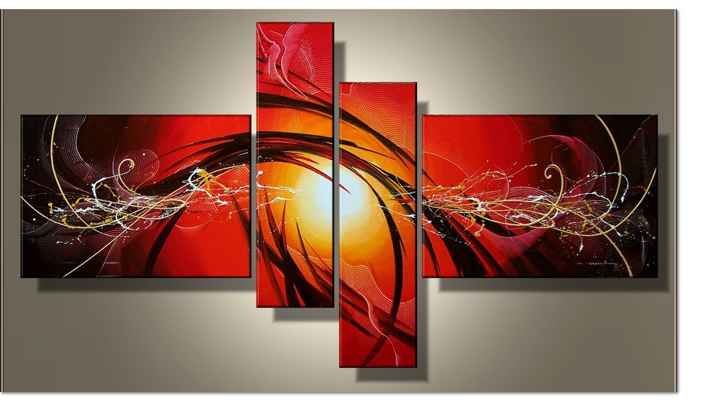 Current fashion canvas painting red abstract art 4 piece for Decoration murale 1 wall