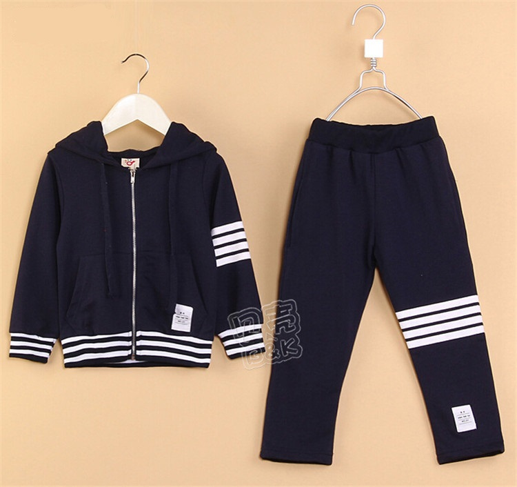2015 spring & autumn baby boys long sleeve sweater with hat little boys striped clothing set boys active clothing A1717(China (Mainland))