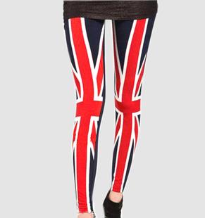 wholesale Guaranteed Quality Popular british UK FLag Slim  Pant winter warm red and black Leggings for women 2013 Trousers