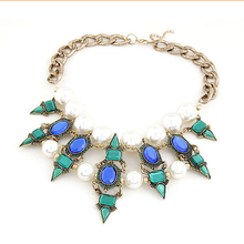 Fashion Chic women Brand luxury Crystal Necklaces Pendants Waterdrop Resin Vintage choker statement necklace jewelry