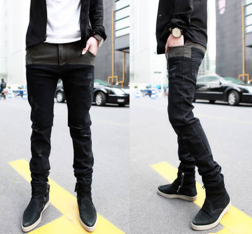 Best Sale Korean Mens Jeans Skinny Straight Fit Pencil Pants Feet Trousers LCJ(China (Mainland))