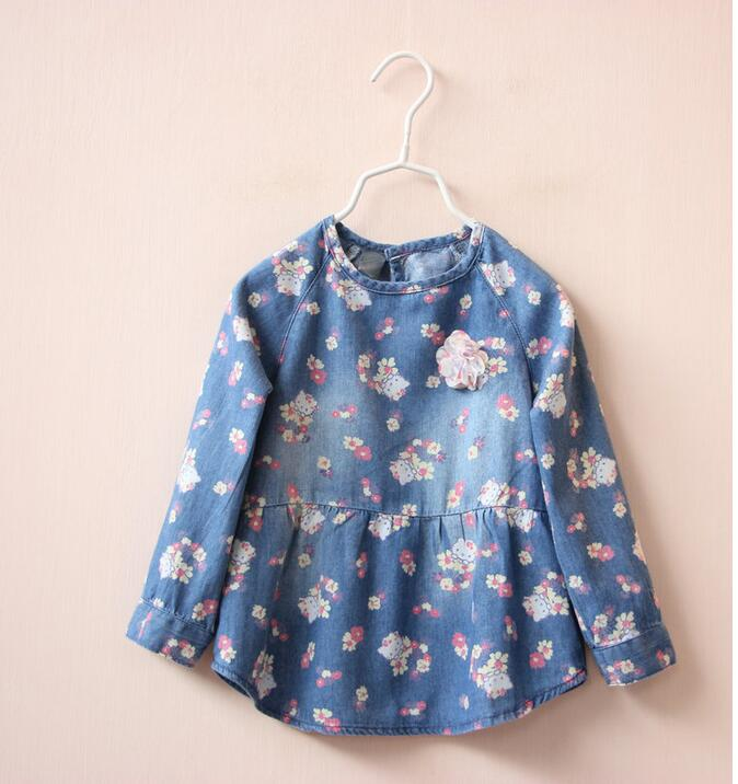 1539238 2016 New Spring Baby Girls Blouses Denim Pinting Cat Appliques Flower Full Sleeve Tops Clothes