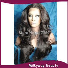 Free shipping color #2 off black natural wave heat resistant synthetic lace front wig synthetic hair closure(China (Mainland))