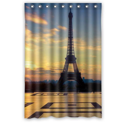 "Eiffel Tower Shower Curtain Bath Screen 9 Hooks 48""x72""-in Shower ..."