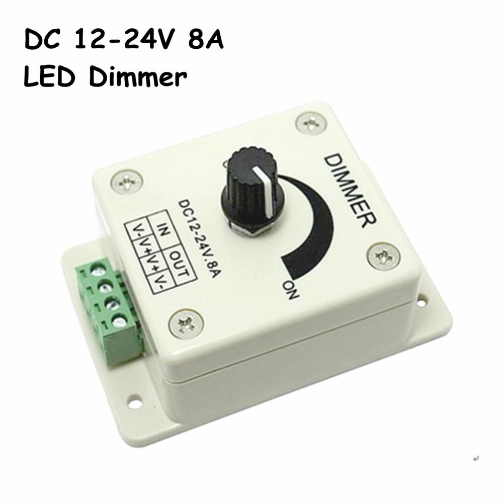 Free Shipping DC12-24V LED Dimmer, Knob-operated Control LED Dimmer Switch, PWM 12V 24V LED Dimmer for LED Strip Light(China (Mainland))