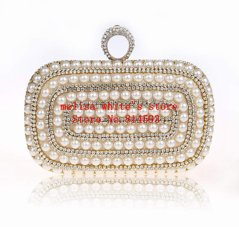 2015 New Pearl Rings Cutch Purses Evening Bags Luxury Diamond Women Handbags Messenger Bags Bolsas Femininas Vintage Purse e82(China (Mainland))