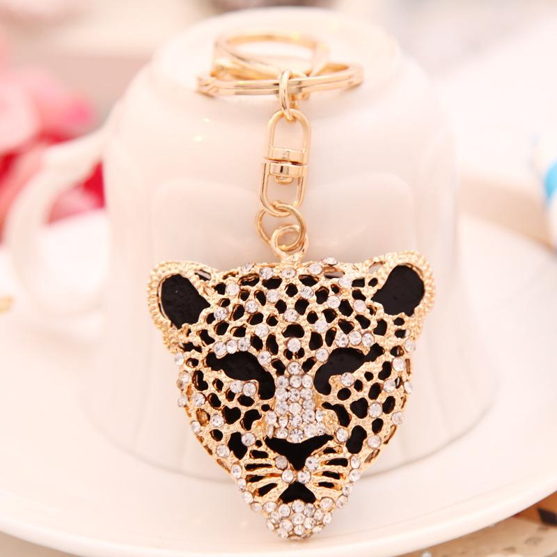 Cool Crystal Leopard Head Animal Keychain Rhinestone Metal Key Chains Ring Holder Purse Charm Jewelry Accessory Free Shipping(China (Mainland))