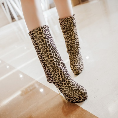 2014 Winter Slim thigh high boots long boots sexy high heels over the knee boots leopard winter shoes woman boots big size 34-43