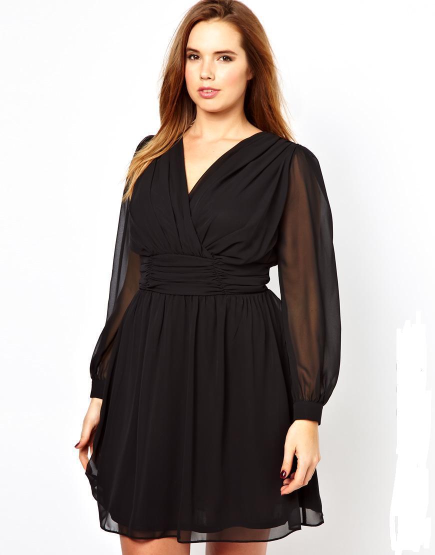 Фото платья с рукавом для полных женщин