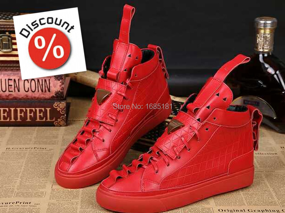 2016 New Red Men shoes Patrick Mohr leather men's casual high leisure Brand High Top Shoes