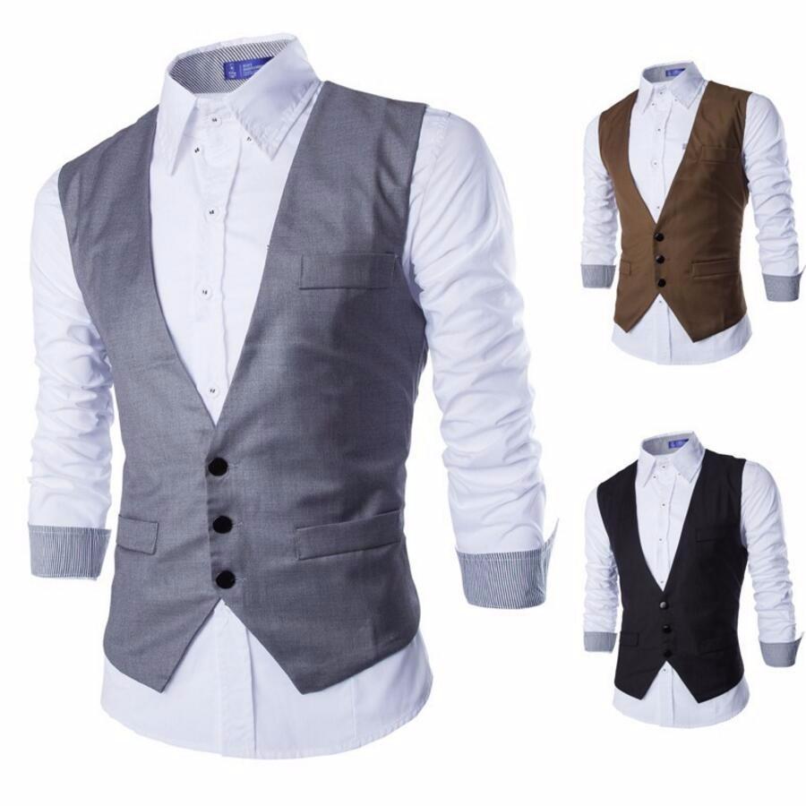 6.1 Men Suits Vests Gilet New Arrival Men Vest Slim Fit Fashion Male Waistcoat Black Gray Colors Formal Business Male Clothing