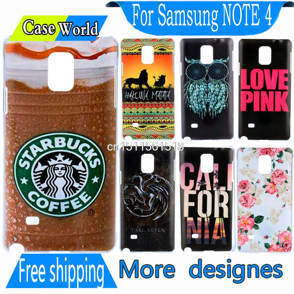 Cute Accessories Retro Design Cool Starbucks Ice Coffee New Hard back Phone Snap Cover Case for Samsung Galaxy Note IV 4 N9108(China (Mainland))
