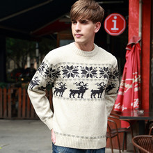 Autumn And Winter New Style Neck Man Woolen Sweater Christmas Snowflake Deer pattern Soft Pullover Fashion Men Sweater(China (Mainland))