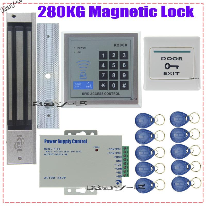 280kg magnetic lock door access control system kit set rfid password keypad power exit button. Black Bedroom Furniture Sets. Home Design Ideas