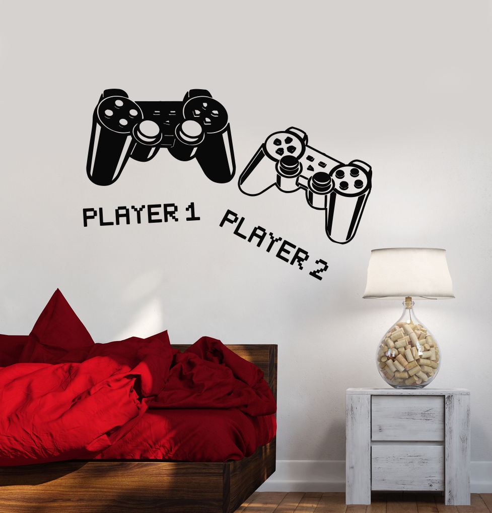 2016 new fashion Wall Decal Playroom Joystick Video Game Gamer Vinyl Stickers free shipping(China (Mainland))