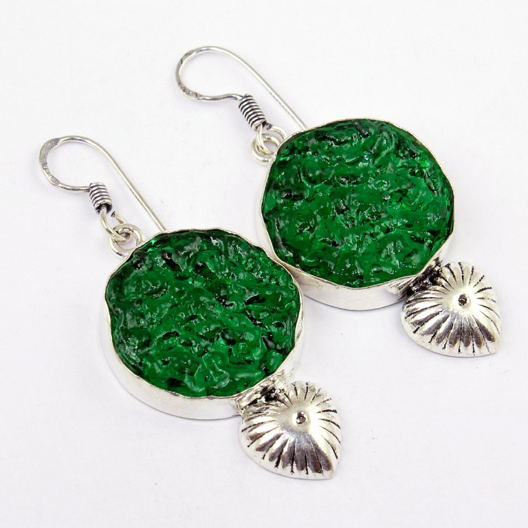 Glass Moldavite Earring, 55 mm, E0245(China (Mainland))