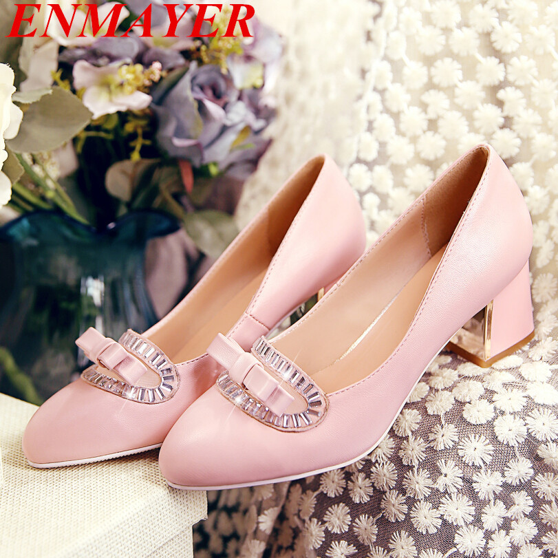 ENMAYER   Bowtie+Rhinestone sweet lady shoes  Pumps samll pointed toe square heels women pumps dating Casual Wedding  Pumps <br><br>Aliexpress