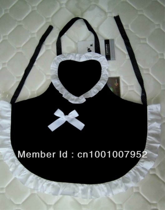 LOVELY HEART MAID APRON BLACK COLOR, KITCHEN APRON WAITRESS APRON(China (Mainland))
