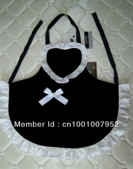 LOVELY HEART MAID APRON BLACK COLOR, KITCHEN APRON WAITRESS APRON(China (Mainland))