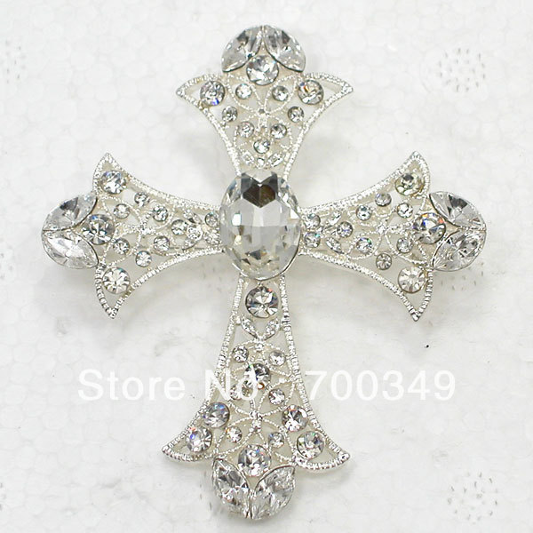 Wholesale 12piece/lot Fashion Silver tone Clear Crystal Rhinestone Cross Pin Brooch & Pendant Jewelry Gift C324 A1(China (Mainland))