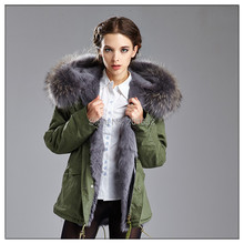 winter jacket women coats thick new 2015 coat women parkas army green Large Raccoon Dog fur collar hooded coat woman outwear(China (Mainland))