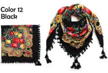 Hot Sale Autumn Winter Fashion Ladies Tassels Big Square Scarf Floral design Women Brand shawl 15 colors 90X90cm Free Shipping(China (Mainland))