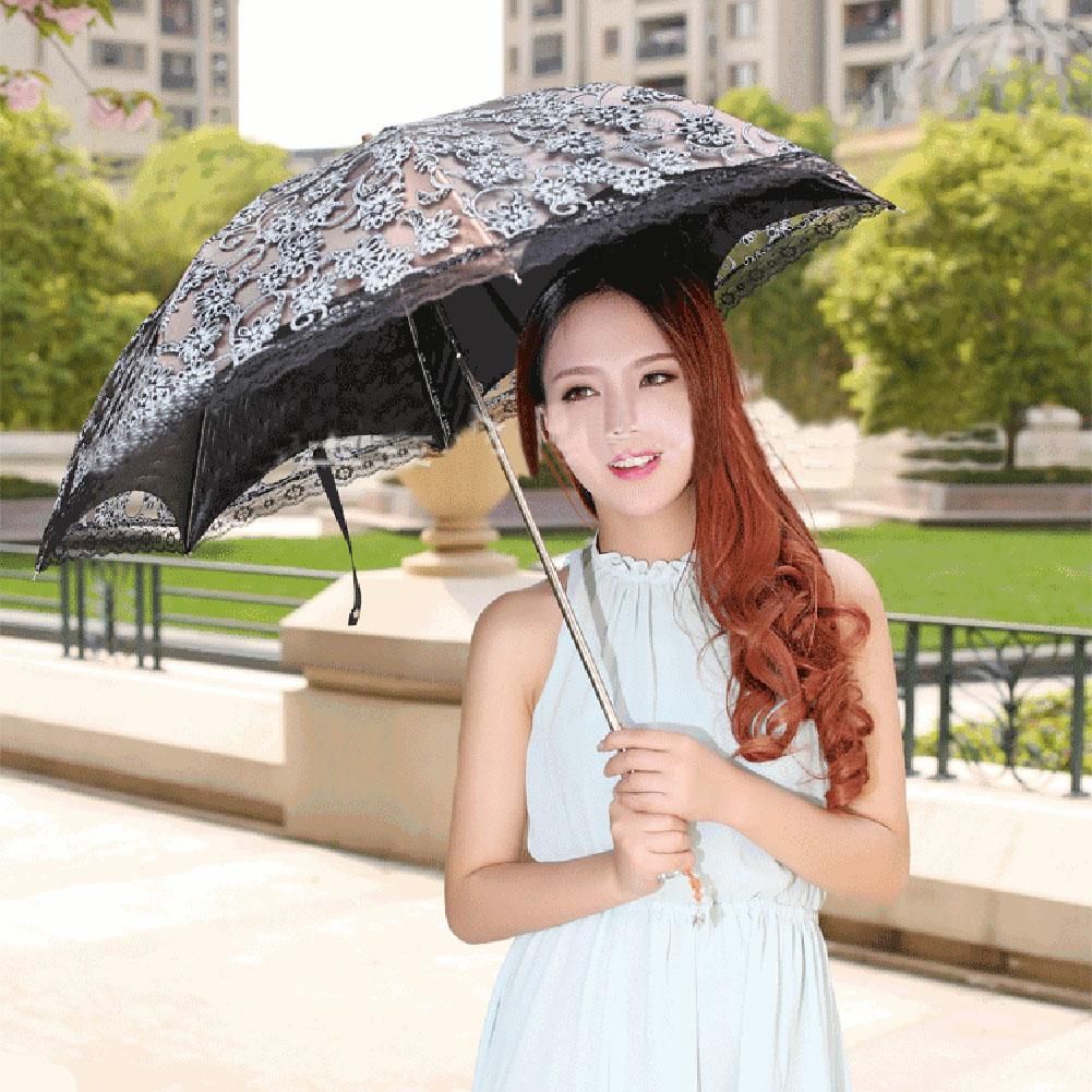Новый Зонтик Для Женщин Супер Уф Зонтик Кружева Зонтик Дамы Складной для SunProtection Зонтики зонтик женщина