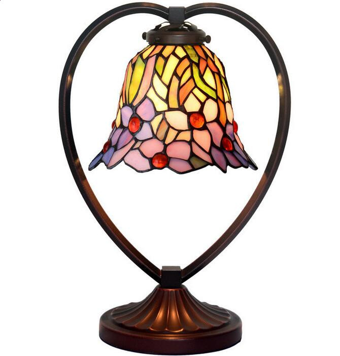 Table Lamps American Country Bedroom Bedside Lamp Stained Glass Lampshade Decorative Light,YSLC-33,Free Shipping(China (Mainland))