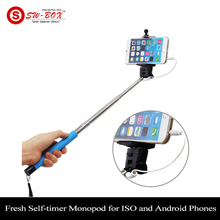 Brand New Fresh Self-timer Cable Take Pole Selfie Stick Blue Monopod for ISO and Android Phones Hot Sales !