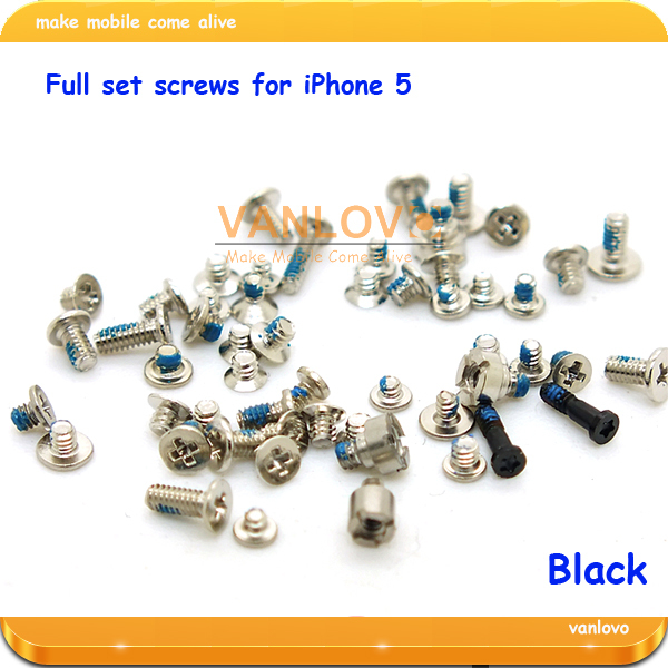 Wholesale 50set/lot original full set screws black silver for iPhone 5G free shipping